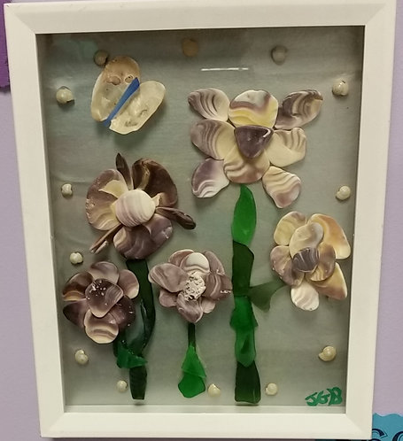 Ocean Art | Flowers made with Quahog seashells