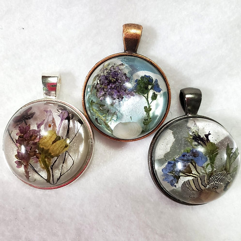 Natural Jewelry | Hand Painted  | Real Flower Pendants