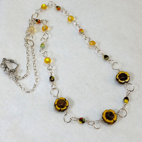 Yellow Czech Glass Necklace | Flower