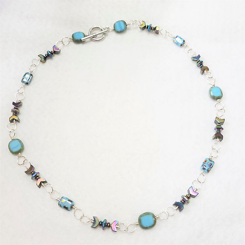 Blue Czech Glass and Hematite Wire Wrapped Necklace