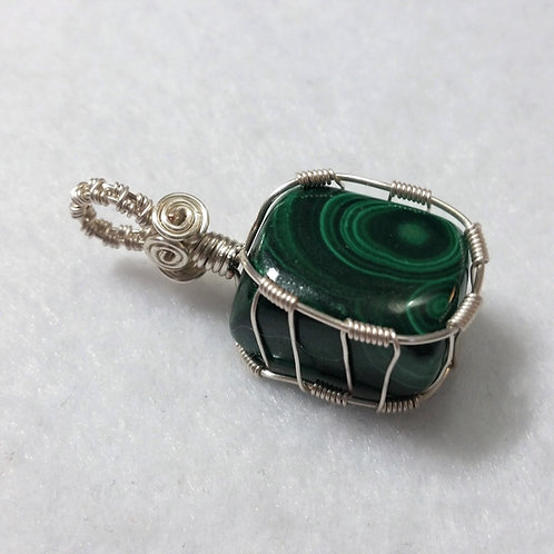 Square Malachite Wire Wrapped Pendant | Earth's Natural Art and Jewelry