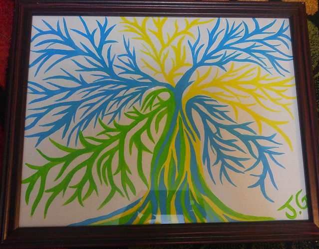 Blue, Green and Yellow Tree | Original Painting