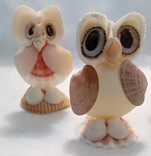 Owl Shell Figurine | Ocean art | Seashell Home Decor | Shell Art