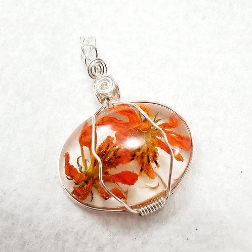 REAL Flower Pendant   Oval Orange