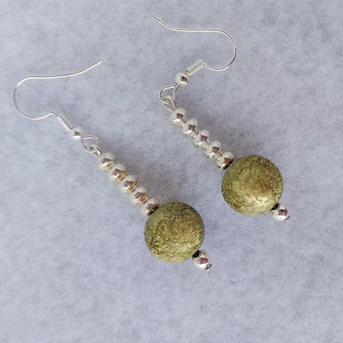 Green Foil Ball Earrings, side view