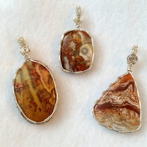 3 Crazy Lace Agate Wire Wrapped Pendants | Healing Stability Strength
