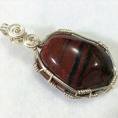 Red Tiger Eye Wire Wrapped Pendant | Jewelry