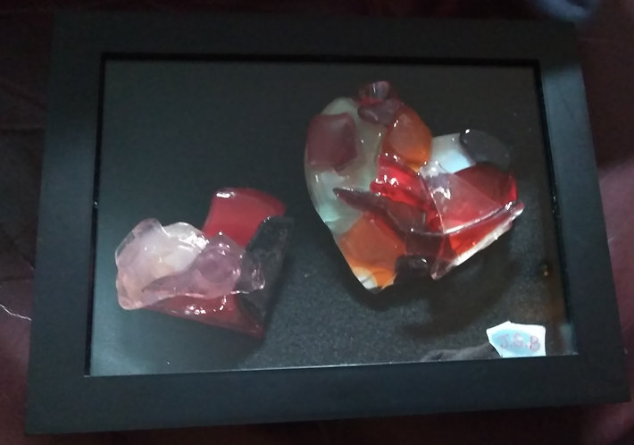 Valentine's day gift- framed glass hearts