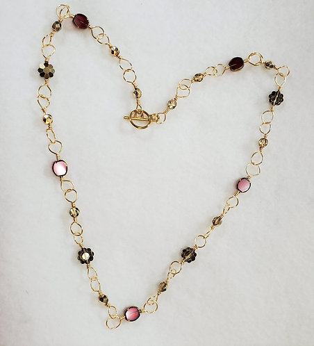 Red and Gold Czech Glass Necklace | Gold