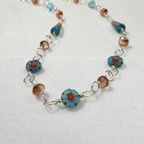 Blue Flower Czech Glass Necklace   Light Blue