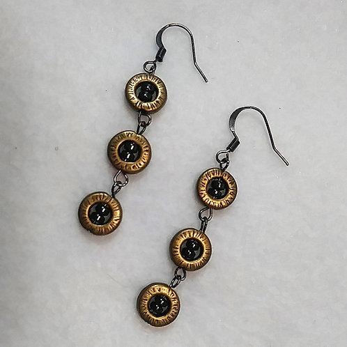 Hematite | Metallic Gold | 3 Drop Earrings