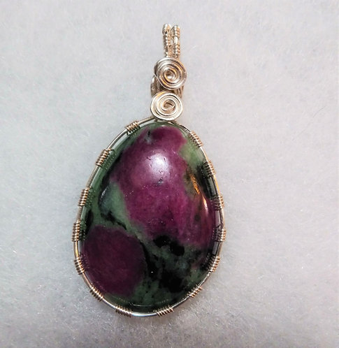 Anyolite Ruby Zoisite | Teardrop | Wire Wrappen Pendant - front view