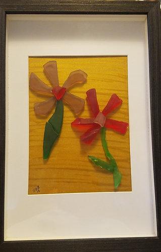 Sea glass | flowers | framed glass art