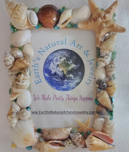 Picture Frame covered in Seashells, Starfish & Beads | Made to order | 4 x 6 in