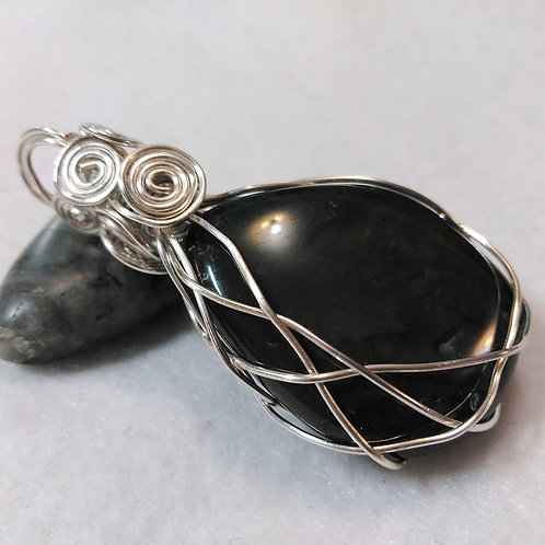 Bloodstone | Large Wire Wrapped Pendant | Reversible