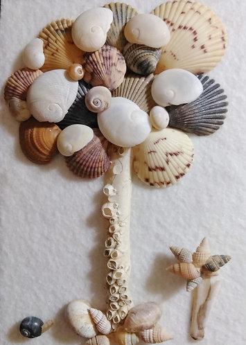 Snail tree | Shell Tree | Shell Art | 6 x 8 inch Shadow box