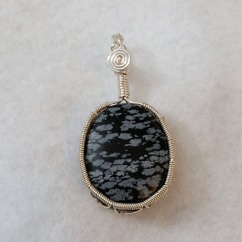 Snowflake Obsidian Wire Wrapped Pendant with Chain