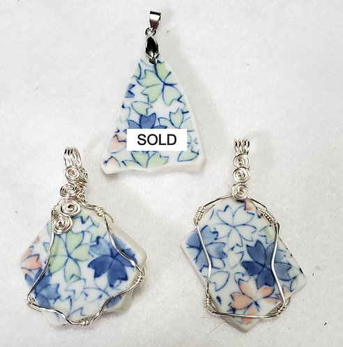 Floral Pottery Pendants |  Plate Jewelry | Maryland