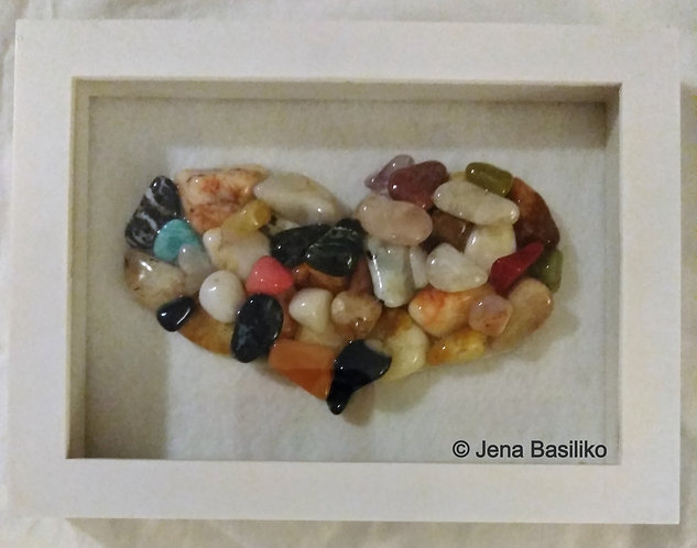 Framed Heart made of Stones | Stone Art | Pebble Art