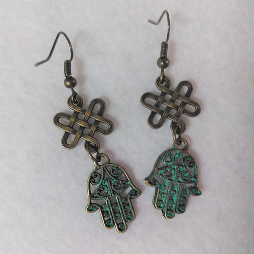 Hamsa Hand | Green and copper | Earrings @ Earth's Natural Art and Jewelry