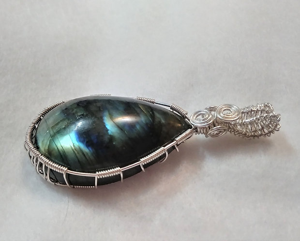 STERLING SILVER | CUSTOM ORDER FOR JAKE | Labradorite Wire Wrapped Penda