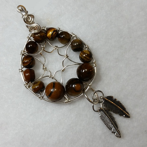 Tiger Eye Dreamcatcher Pendant with Chain