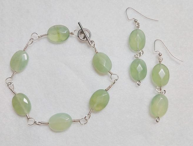 Prehnite | Bracelet and Earring Set
