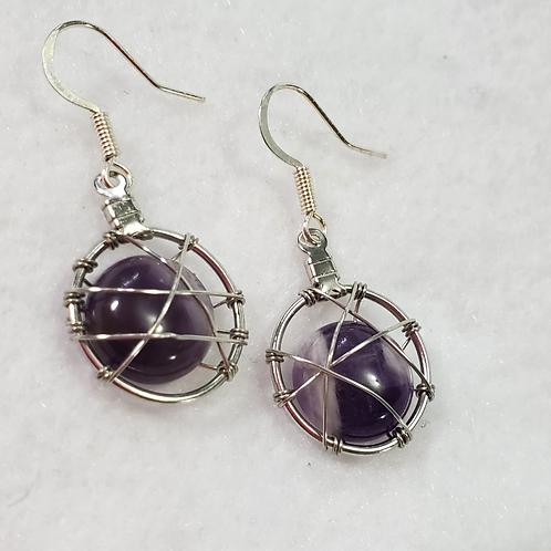 Amethyst Stone Wire Wrapped Earrings