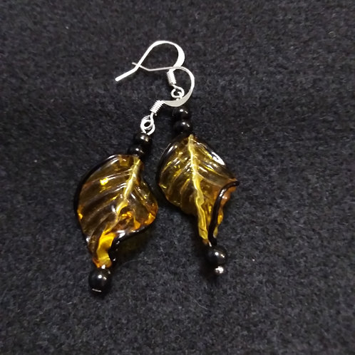 Orange Leaf Earrings, front view