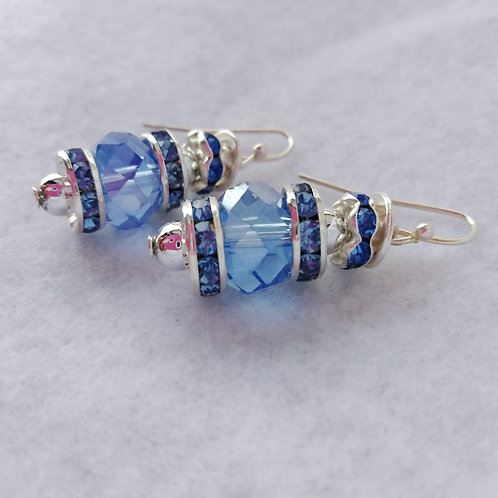 Blue Handmade Earrings, left side view