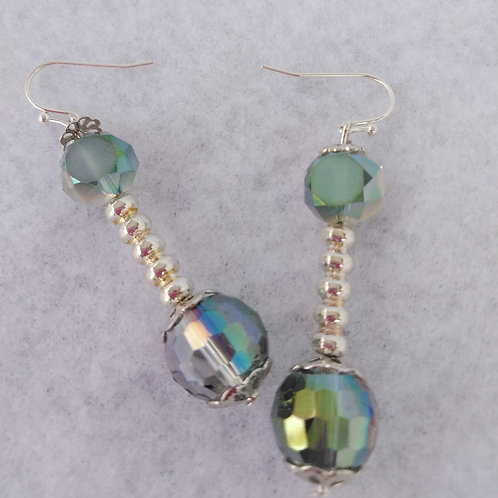 Iridescent Silver Earrings, top view