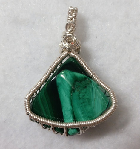 Malachite Wire Wrapped Pendant | Earth's Natural Art and Jewelry