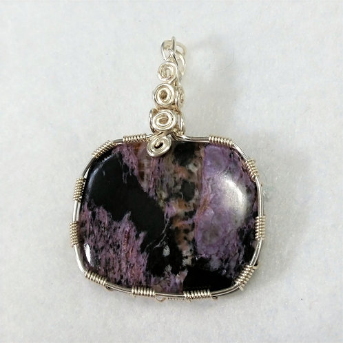 Charoite Wire Wrapped Pendant | Square | Stone of Transformation