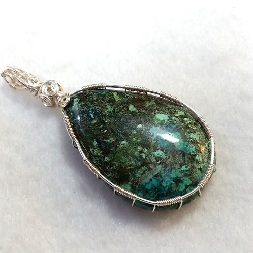 Teardrop Azurite Wire Wrapped Pendant | Creativity and Inner Wisdom