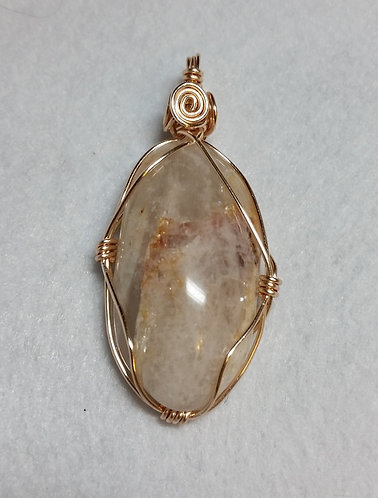 Quartz with Red Veins | Wire Wrapped Pendant
