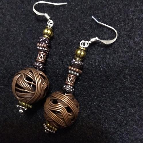 Copper Wire Ball Earrings,1