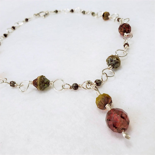 Amber Czech Glass Wire Wrapped Necklace