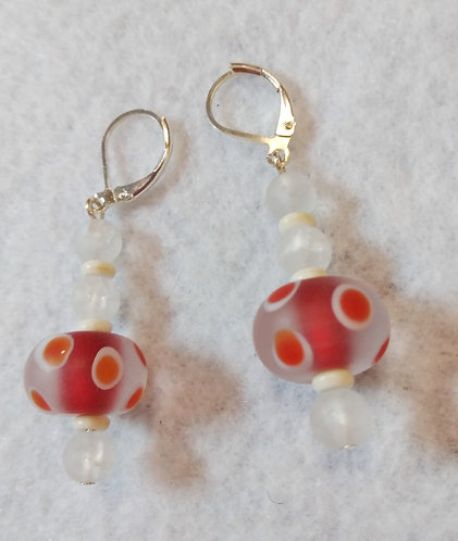 Red & White Polka Dot Earrings | Jewelry | Silver