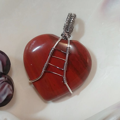 Red Jasper Heart Pendant | Protective Stone | Earth's Natural Art and Jewelry