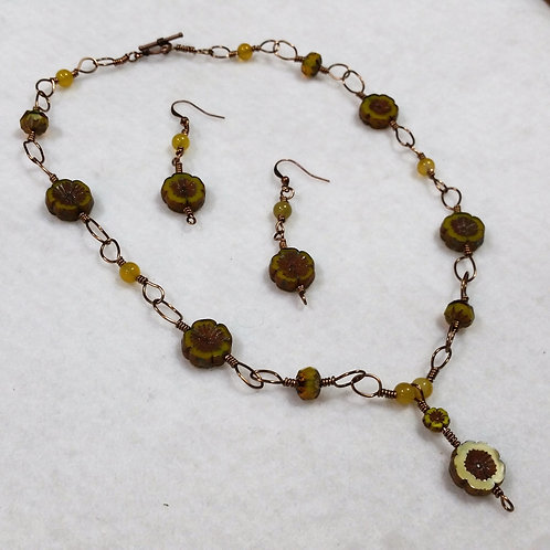 Wire Wrapped Czech Glass Necklace and Earring Set