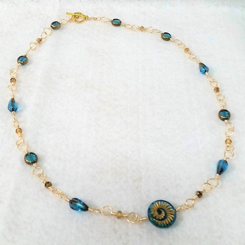 Blue Swirl Czech Glass Necklace