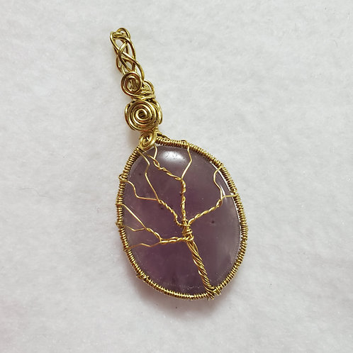 Lilac Amethyst Tree of Life Calming Stone Wire Wrapped Gold Pendant