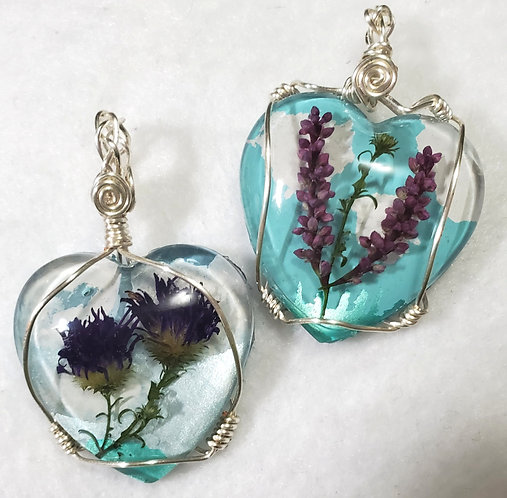 Heart Natural Jewelry | Wire Wrapped Real Flower