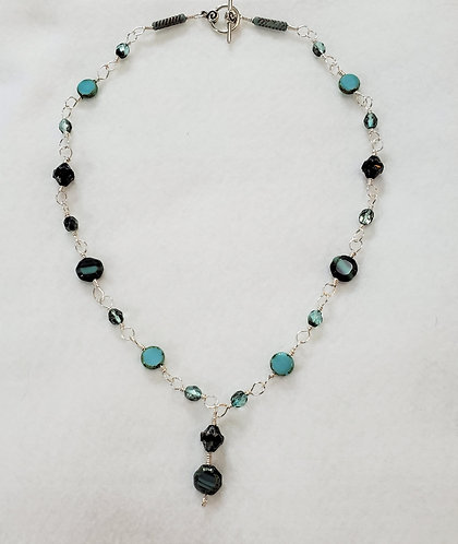 Czech Glass | Teal | Wire Wrapped Necklace | Maryland