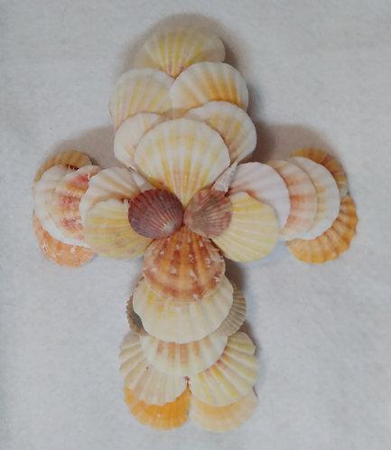 Crucifix | Orange | Seashells | Religious Decor | Wall Cross