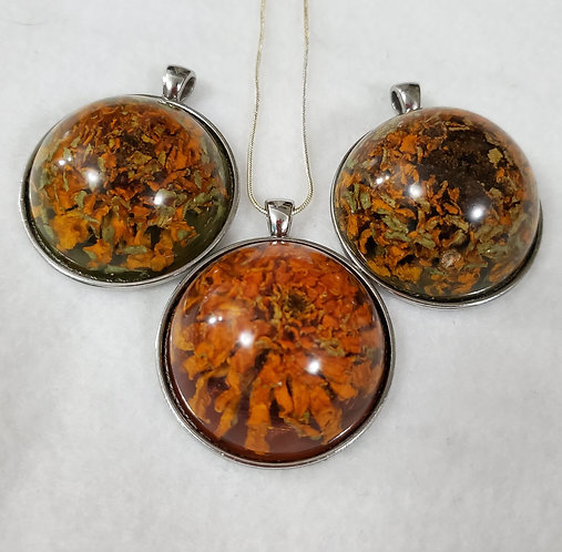 REAL Flowers | Orange | Large Round Pendant