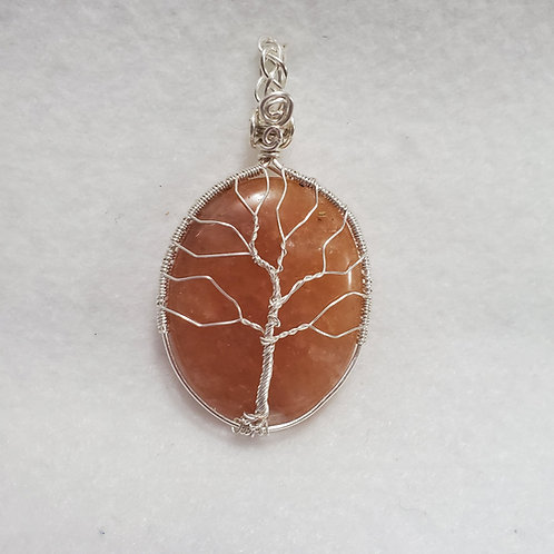 Orange Aventurine Tree of Life Wire Wrapped Pendant