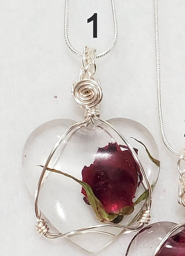 Heart Shape  Rose Wire Wrapped Pendant | Red