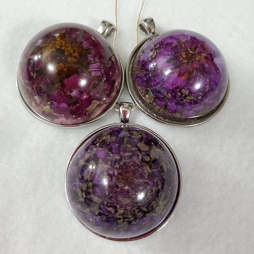 REAL Flowers | Purple | Large Round Pendant