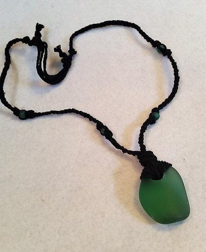 Green Seaglass | Adjustable Hemp Necklace (1)